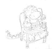 De draakmascotte eet colazine stijgende stoel, schetsen en potloodschetsen en krabbels Royalty-vrije Stock Afbeeldingen