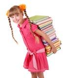 De dragende stapel van het kind van boeken. Stock Afbeeldingen