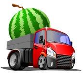 De dragende watermeloen van de beeldverhaalvrachtwagen, op witte achtergrond stock foto's