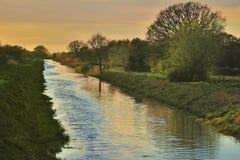 De drainagesloot van Somersetniveaus Stock Fotografie