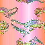 De drakenpatroon van de zijde royalty-vrije illustratie