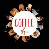 De drank decoratieve pictogrammen van de koffie vlakke inzameling Stock Afbeeldingen