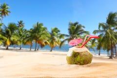 De drank van de de zomerkokosnoot op het strand Royalty-vrije Stock Afbeelding