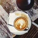 De Drank van de koffiecafeïne drinkt Koffie Latte Art Concept royalty-vrije stock fotografie