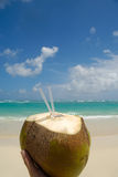 De drank van de kokosnoot en exotisch strand Royalty-vrije Stock Afbeeldingen