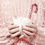 De drank van het Kerstmisnieuwjaar, witte mok met heemst in wijfje dient gebreid roze sweater en Suikergoedriet in Traditionele d stock foto