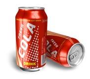 De dranken van de kola in metaalblikken Stock Foto