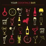 De drankenpictogrammen van de alcohol 16 vlakke geplaatste pictogrammen vector illustratie
