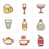 De Drankpictogrammen van de pictogrammenstijl Royalty-vrije Stock Foto