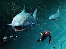 De dreiging van haaien royalty-vrije illustratie