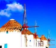 De Drie beroemde Windmolens van Mykonos, Griekenland stock foto