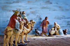 De drie koningen en de heilige familie Stock Foto