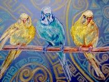 De Drie papegaaien royalty-vrije illustratie