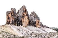 De drie pieken van Lavaredo het Italiaans: Tre Cime di Lavaredo binnen Stock Afbeeldingen