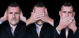 De drie wijze apenzakenman Royalty-vrije Stock Afbeelding