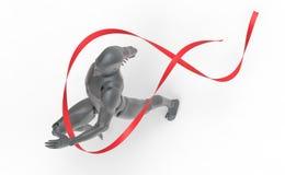 De driedimensionele witte mens stelt rode lijn in werking Stock Foto's