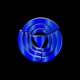 De driehoek van het embleemneon in de blauwe cirkels Royalty-vrije Stock Foto's