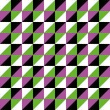 De Driehoeks zwarte roze groen van de patroon Vector Naadloze Veelhoek Stock Afbeeldingen