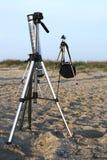 De driepoot van de camera Stock Afbeeldingen