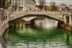 De drievoudige brug van Ljubljana Stock Foto's