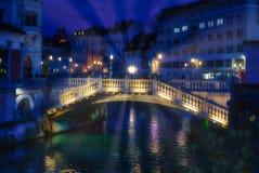 De drievoudige brug van Ljubljana Royalty-vrije Stock Foto