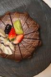 De drievoudige Cake van de Chocolade van de Laag Stock Foto