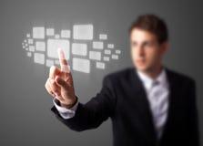 De dringende hoogte van de zakenman - technologieknoop Stock Fotografie