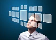De dringende hoogte van de zakenman - technologietype van moderne knopen Stock Foto
