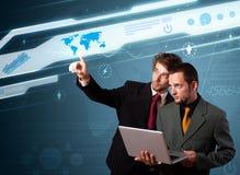 De dringende hoogte van de zakenman - technologietype van moderne knopen royalty-vrije stock afbeelding