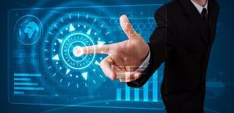 De dringende hoogte van de zakenman - technologietype van moderne knopen stock afbeelding