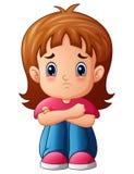 De droevige alleen zitting van het meisjesbeeldverhaal vector illustratie