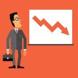 De droevige bedrijfsmens bekijkt een grafiek of een grafiek Onderaan pijl, die de daling in zaken vertegenwoordigen Royalty-vrije Stock Afbeeldingen