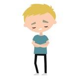 De droevige beledigde blonde illustratie van het jongensbeeldverhaal vector illustratie