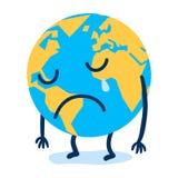 De droevige bol die van de beeldverhaalaarde, noodlot, klimaatverandering schreeuwen royalty-vrije illustratie