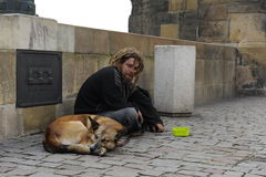 De droevige dakloze mens met een hond zit en verzamelt aalmoes Stock Afbeelding