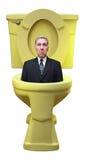 De droevige Economie van de Carrière van de Zakenman die onderaan Toilet wordt gespoeld stock afbeelding