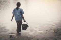 De droevige emmer van de meisjesholding in het meer stock afbeelding