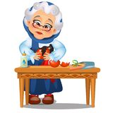 De droevige geanimeerde oude dame lijmde omhoog het gebroken die Kerstmisspeelgoed op een witte achtergrond wordt geïsoleerd Fees stock illustratie