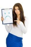 De droevige glimlach van de vrouwentekening Stock Afbeeldingen