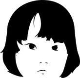De droevige Illustratie van het Gezicht van het Meisje Royalty-vrije Stock Fotografie