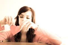De droevige jonge vrouw heeft slechte tijd Stock Afbeelding