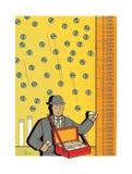 De droevige mens in een pak verkoopt aandelen Geldregen van de hemel peddler handel De venter van goederen Zandloper, dollar en e royalty-vrije illustratie