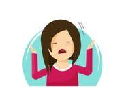 De droevige schreeuwende meisjes vectorillustratie, vlakke gefrustreerde beeldverhaal ongelukkige vrouw, vrouwelijk vermoeid of b vector illustratie