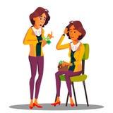 De droevige Vrouwentellingen slaan munt uit Haar Handenvector Geïsoleerdeo illustratie stock illustratie