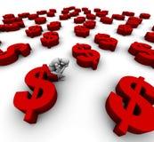 De droevige Zitting van de Ledenpop op het Symbool van de Dollar van ?$? Royalty-vrije Stock Foto