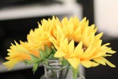 De droevige zonnebloemen stock fotografie