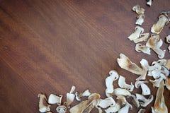 De droge boleetpaddestoel snijdt voedsel achtergrondtextuur Royalty-vrije Stock Fotografie