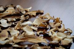 De droge boleetpaddestoel snijdt voedsel achtergrondtextuur Royalty-vrije Stock Afbeeldingen