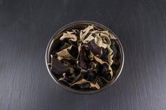 De droge Chinese Zwarte Paddestoelen, Auricularia-polytricha, roepen ook Stock Afbeelding