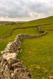 De droge steenmuren kronkelen hun manier in de verre gebieden op Yorkshire vastlegt dichtbij Malham, North Yorkshire royalty-vrije stock foto's